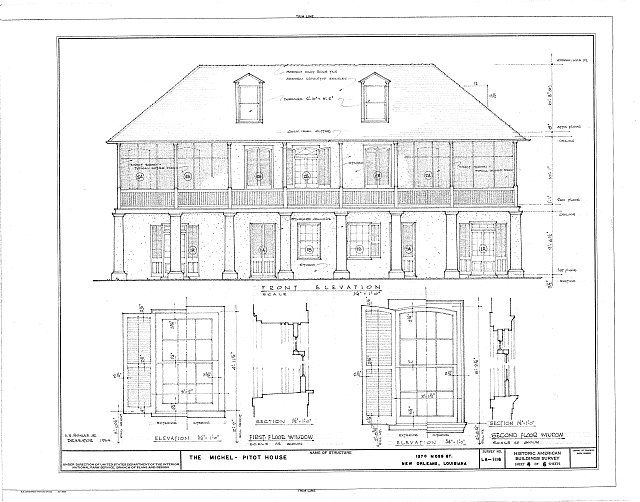Architectural as-built elevations and window details of the NOLA Pitot House
