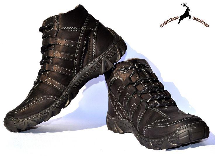 Reindeer Leather Black Toe Boot Warm