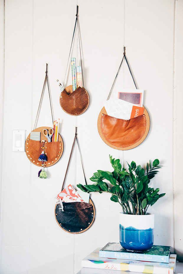 Make these easy catchall wall pockets with corkboard and leather.