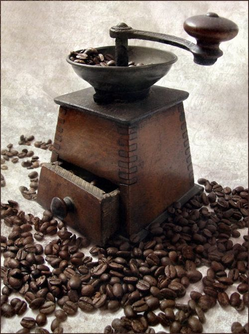 Coffee grinder: I used to play with one of these when I was a wee lass. Good thing I didn't play with mirrors and razor blades.