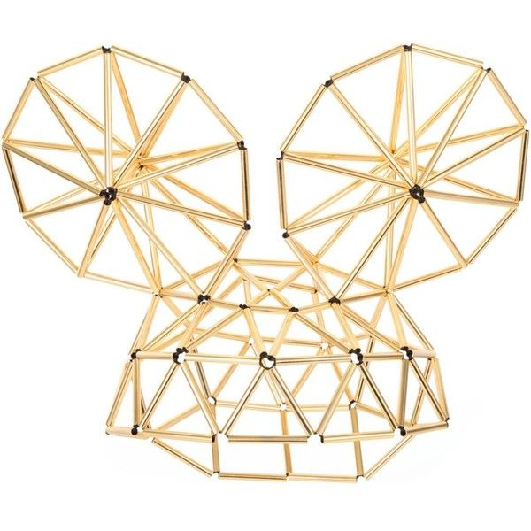 WXYZ Mega Mouse Ears gold-toned hat ($660) found on Polyvore featuring accessories, hats, gold and gold hat