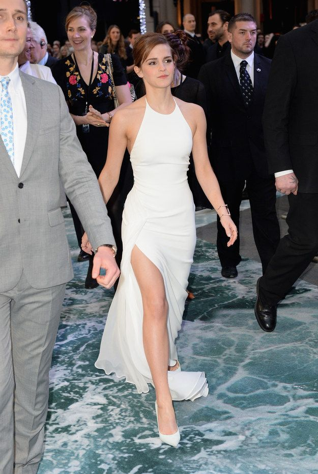 Emma Watson looks incredible in a white dress with a thigh-high split. Everyone here knows it.
