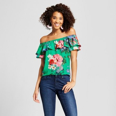 2f4a9483c3b3 Target - Women s Floral Print Short Sleeve Off the Shoulder Woven Top -  Xhilaration™ Gold Green Raspberry.  ad  target  fashion  springfashion