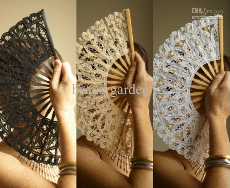 Wholesale black/white/ivory wedding full batten Lolita victorian LACE FAN Hand Fans SPANISH LADY, Free shipping, $3.49-4.8/Piece | DHgate Have bridesmaids carry fans instead of flowers for a summer outdoor wedding! Functional and beautiful!