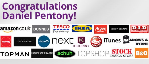 Congrats to €500 Shopping Spree Winner Daniel Pentony from Co Louth! #allgifts2014 #MerryChristmas