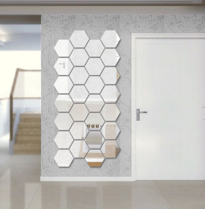 Hexagon Shape Mirror Wall Decal Wall Sticker by EasyWallDecals