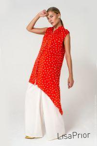 Красное платье-рубашка со слониками