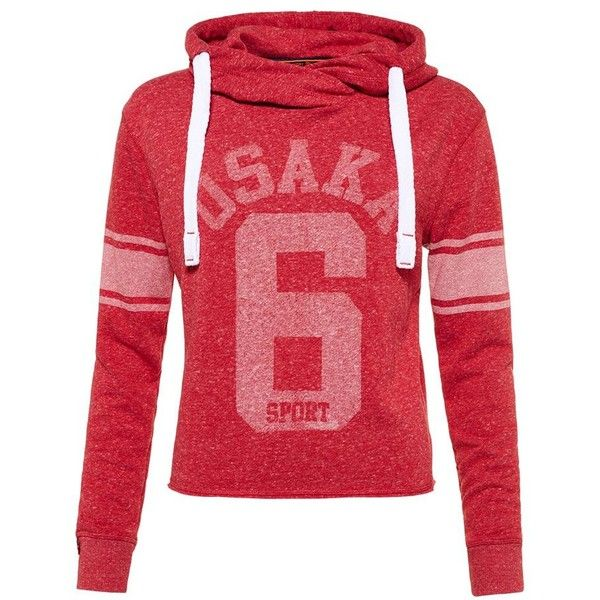 Superdry Osaka Sport Cropped Marl Hoodie ($50) ❤ liked on Polyvore featuring tops, hoodies, red, women, cropped hoodie, sports hoodies, sweatshirt hoodies, hooded sweatshirt and striped crop top