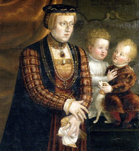 Anna of Bohemia and Hungary (1503-1547) with two of her children: Johann (1538-1539) and Ursula (1541-1543).