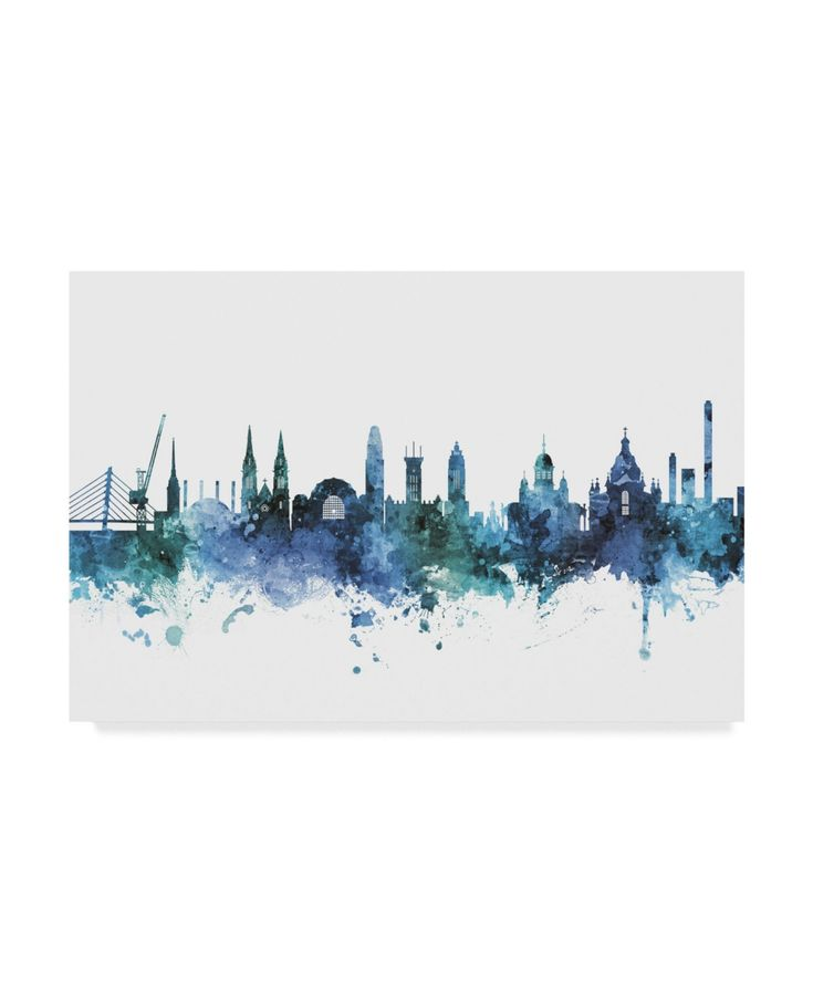 Michael Tompsett Helsinki Finland Skyline Blue Canvas Art – 15″ x 20″ – Multi
