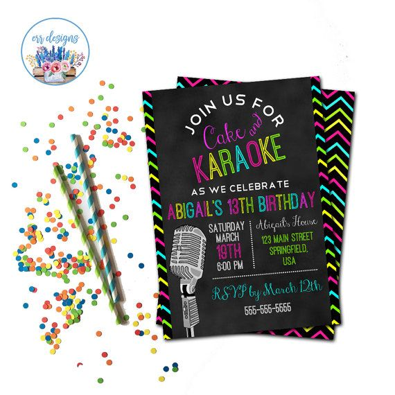 Karaoke Party Invitation Karaoke Birthday Party by ERRdesigns