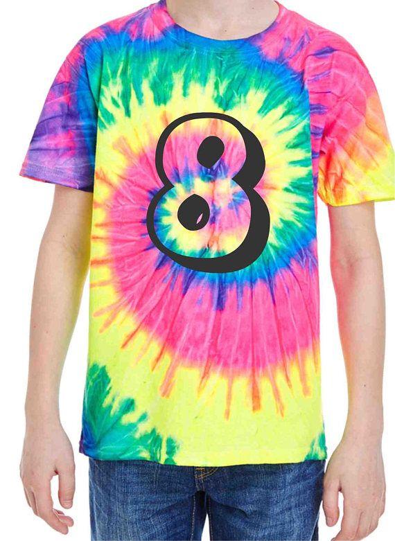 Tie Dye Shirt Kids 8th Birthday Number Shirts