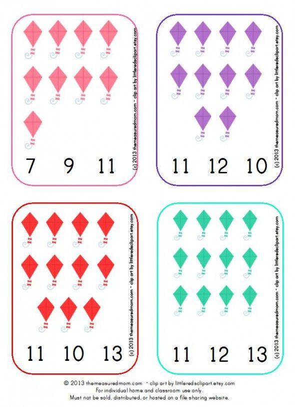 kite snip sample the measured mom 590x812 Kite Printable: Count  Clip Cards #1 20