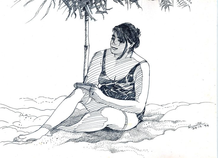 Sketch in black pen of my friend on location of Baga beach in Goa, India.