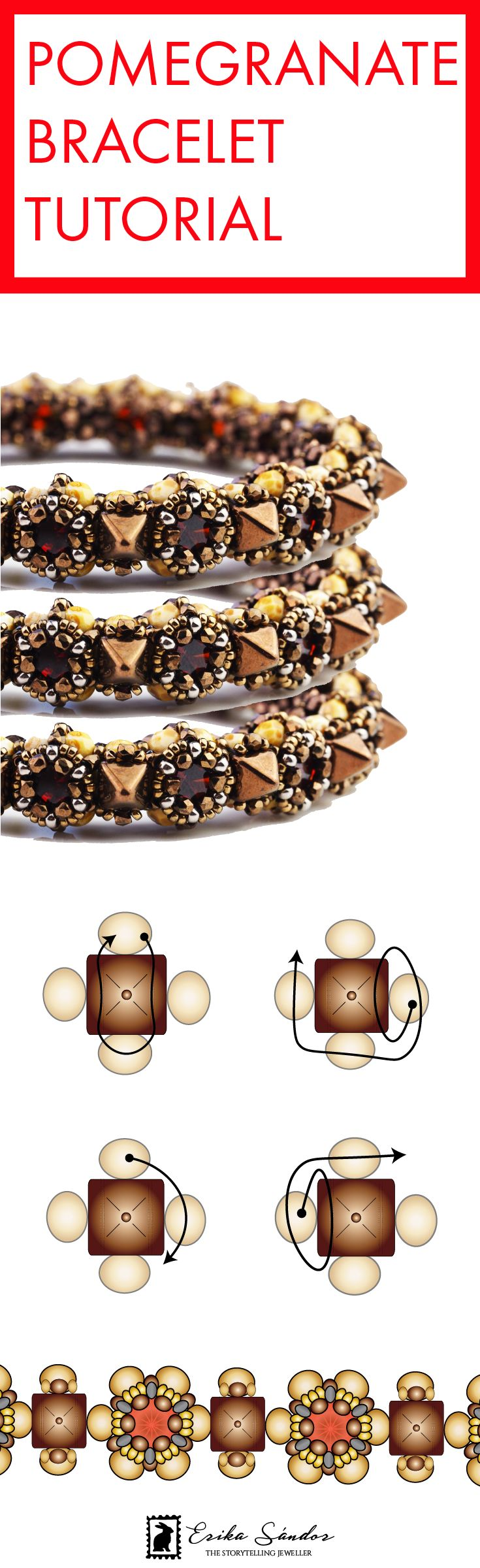 Beaded bracelet tutorial with Spike Pyramid beads, cabochons, Miyuki seed beads, fire polished beads, True 2 by Beadsmith beads. Design by Erika Sandor the Storytelling Jeweller.