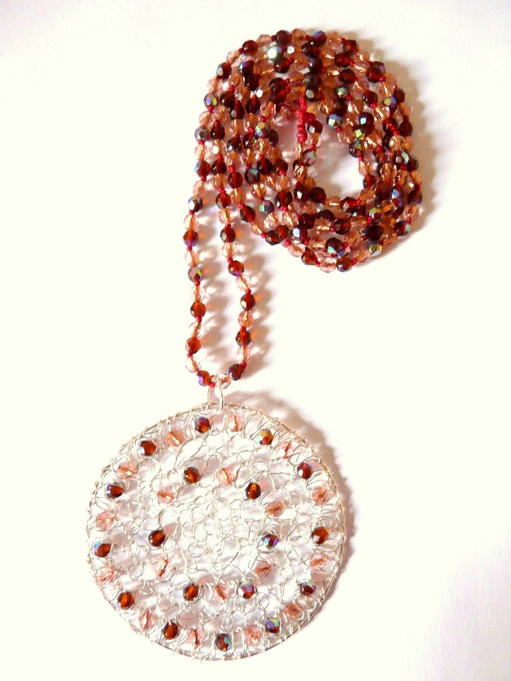 Mandala collier sautoir pendentif rond rose marron // French handmade // Cadeau femme Noël // bijou made in France