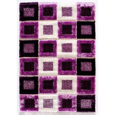 "Istikbal Signature Purple Shag Rug Size: 91"" x 63"" x 1"""
