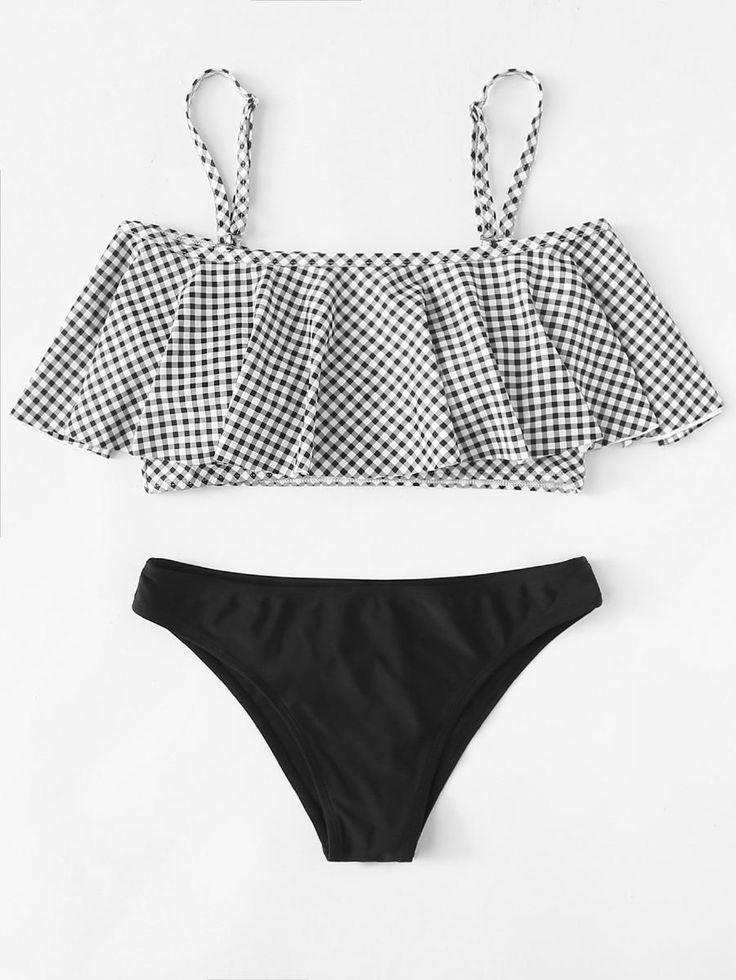 Flounce Cold Shoulder Plaid Bikini Set -SheIn(Sheinside)