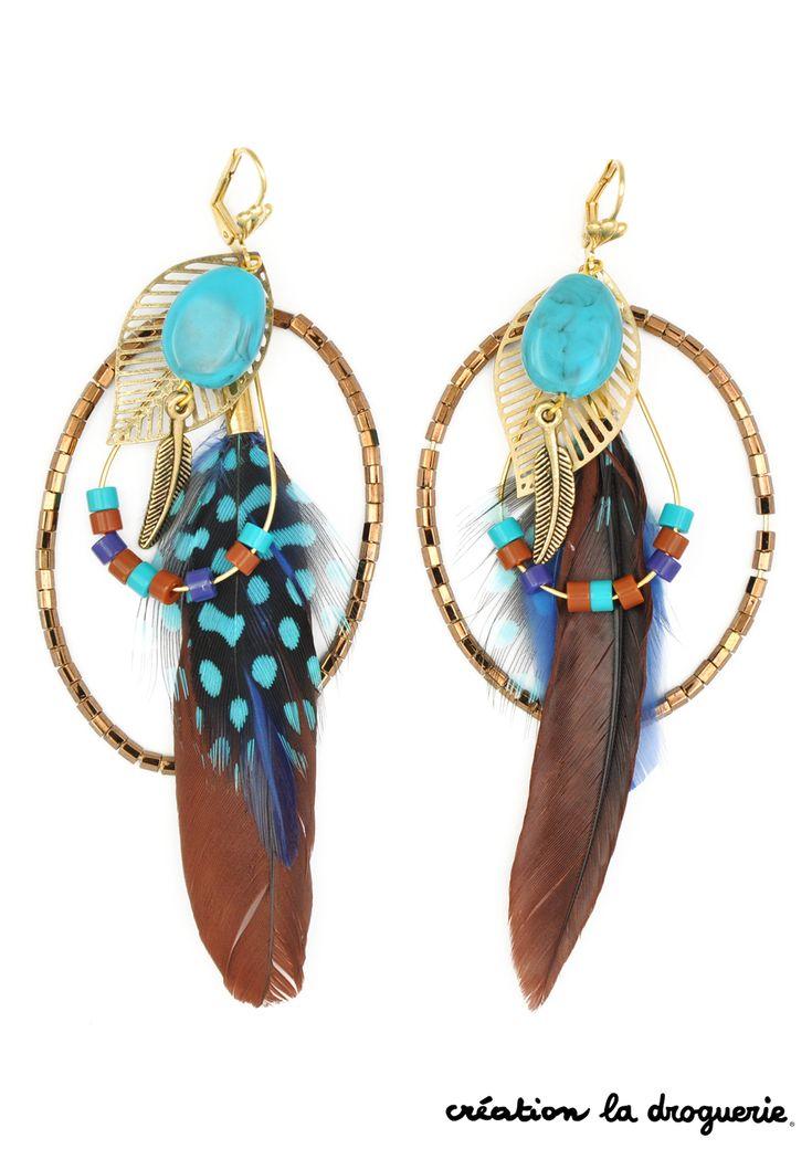 "BO breloques plumes ""Iroquois"""