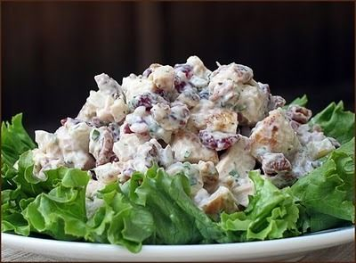 I made this for Landon's blessing, too. It's good to have a nice chicken salad recipe in the arsenal....this is definitely a keeper.Corner Bakery Chicken SaladStir together dressing ingredients. Fold in chicken and remaining ingredients. Best if refrigerated for several hours or overnight to let flavors come together.