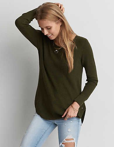 AEO Crew Jegging Sweater, Olive | American Eagle Outfitters