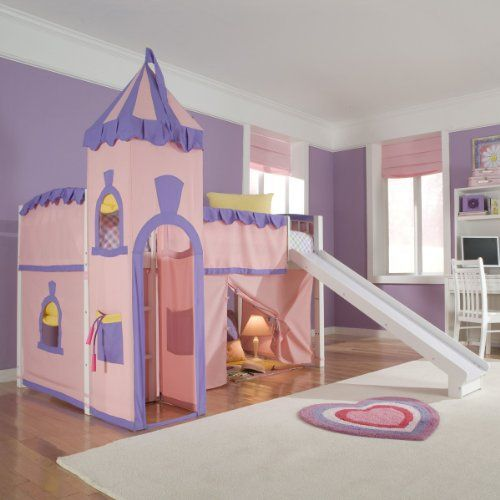 Put a little castle in your little princess' room with the whimsical Schoolhouse Princess Loft Bed. This fun pink and lavender tent bed is the perfect playhouse. The under-bed tent area is great for playing house, tea parties, and more, and a slide makes getting out of bed fun. It's... more details available at https://furniture.bestselleroutlets.com/children-furniture/bedroom-sets-children-furniture/product-review-for-schoolhouse-twin-princess-loft-bed-w-slide-perf