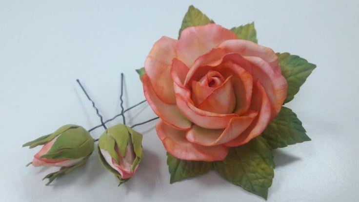 МК! Как сделать красивую заколку с розой и бутончики на шпильке!