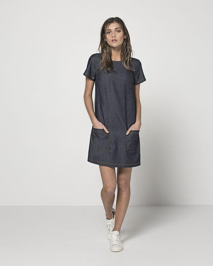 Japanese Twill Rae Raglan T Dress (Dark Indigo)
