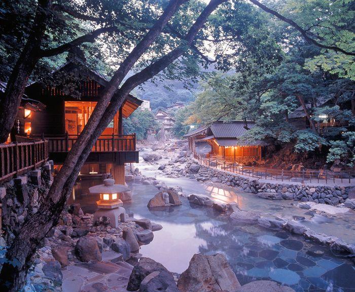 """""""One of the the largest open air baths in Japan""""  Takaragawa Onsen Osenkaku, Gunma, Japan"""