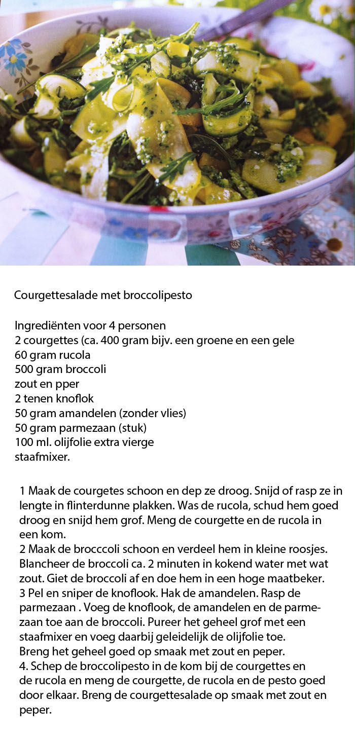 Courgettesalade met broccolipesto. Menu - Vooraf tilapiapaté met gerookte forel, Hoofd: Pollo al Marsala, gebakken aardappeltjes met rozemarijn en knoflook, Courgettesalade met broccolipesto, Dessert: Roomijs met frambozen