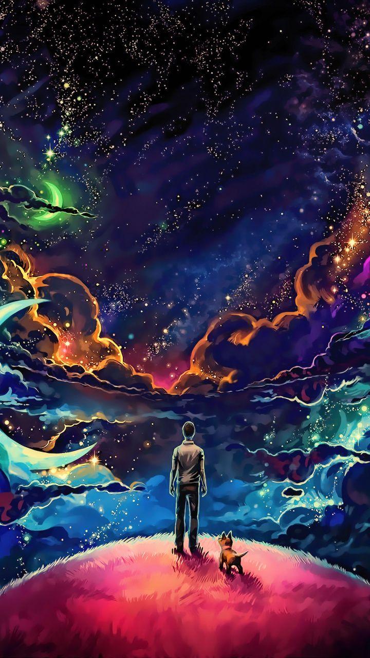 Man and dog, outdoor, clouds, fantasy, art, dark, 720x1280
