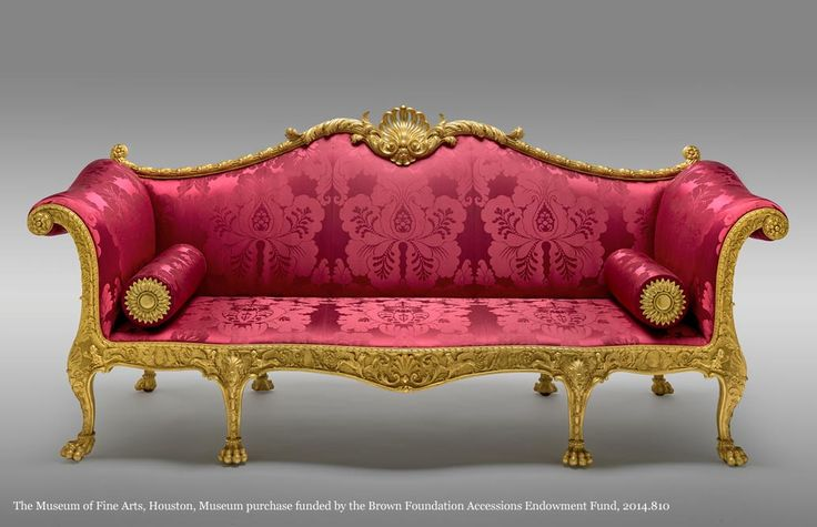 The Dundas Sofa found at the Museum of Fine Arts, Houston. Upholstered in a #Silk #Damask The Museum of Fine Arts, Houston, Museum purchase funded by the Brown Foundation Accessions Endowment Fund, 2014.810  http://www.humphriesweaving.co.uk/our-work-2/museums-galleries/museum-fine-arts-houston/