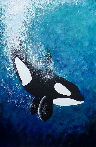 Art Orca - Killer Whale Acrylic Painting on Canvas 36 inches x 24 inches