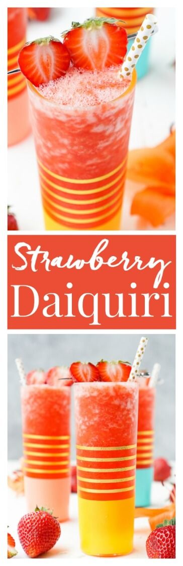This really is The Best Strawberry Daiquiri recipe! It's a slushy blend of fresh strawberries, citrus, ice, and rum - it's easy to make and it will only take a couple of these frozen cocktails to have you feeling lively!  via @sugarandsoulco