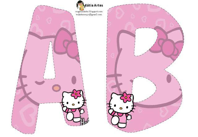 Alfabeto de Hello Kitty en fondo rosa. Hello Kitty pink alphabet