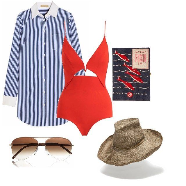 """POOL SIDE PIECES by Nicky Zimmermann  """"I'm a one-piece girl, have been for about the last five years or so, because I am not a sunbaker. I'm the one reading a book, having a drink, in the shade. I love Hatmaker's fine straw hats, and I just bought a pair of fabulous Cutler & Gross aviators. A man-style shirt is a holiday staple - striped cotton or crisp linen""""   Marie Claire Australia #hatmaker #zimmermann #marieclaire #poolsidefashion #swimfashion #resortwear #jonathanhoward…"""