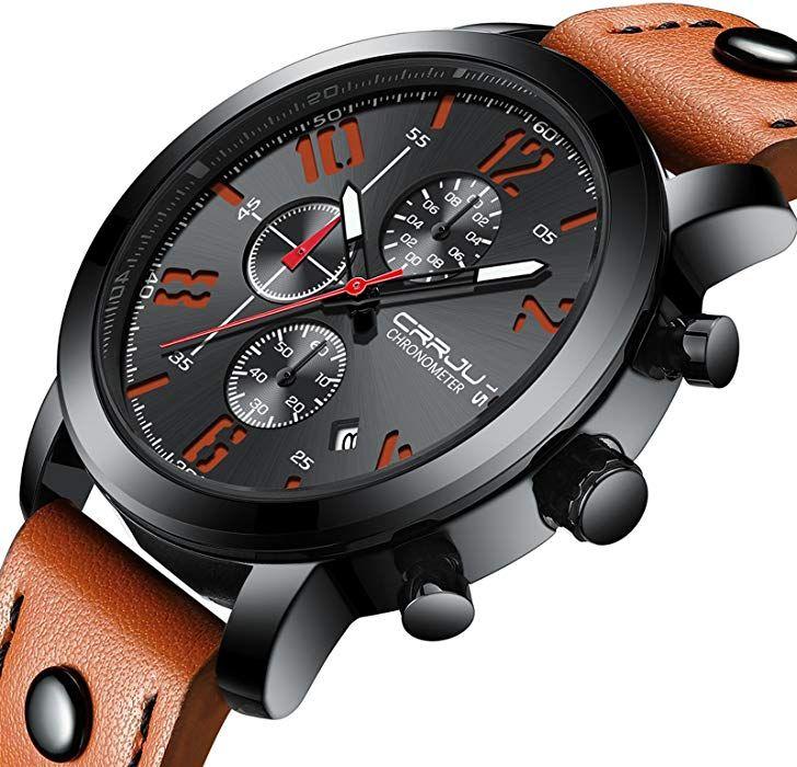 Amazon.com: Men's <b>Watch</b> Business Quartz Orange <b>Casual</b> ...