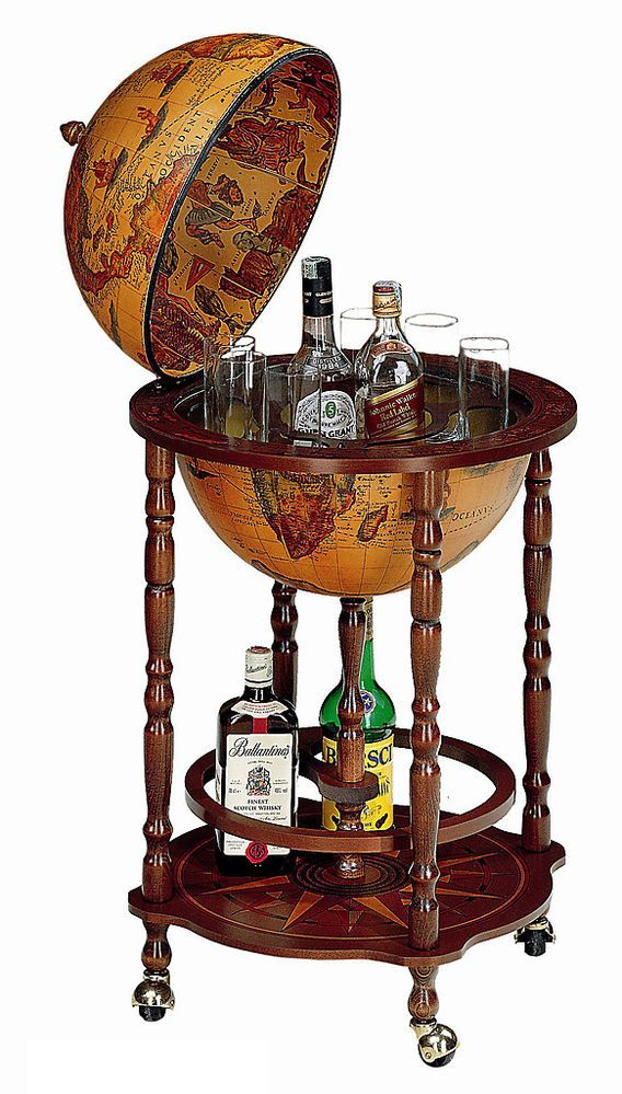 """Bar Globe Drinks Cabinet 16"""" Italian with Certificate of Authenticity"""