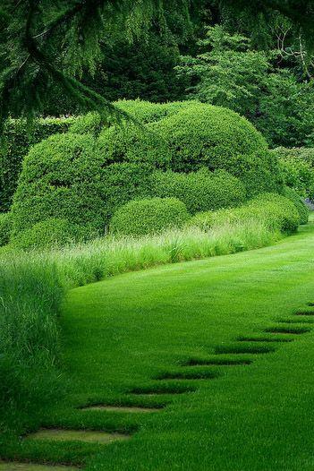 : Gardens Ideas, Green Home, Hedges Gardens, Paths Stones, Green Gardens, Country Gardens, Step Stones, Gardens Paths Edge, Walks Stones