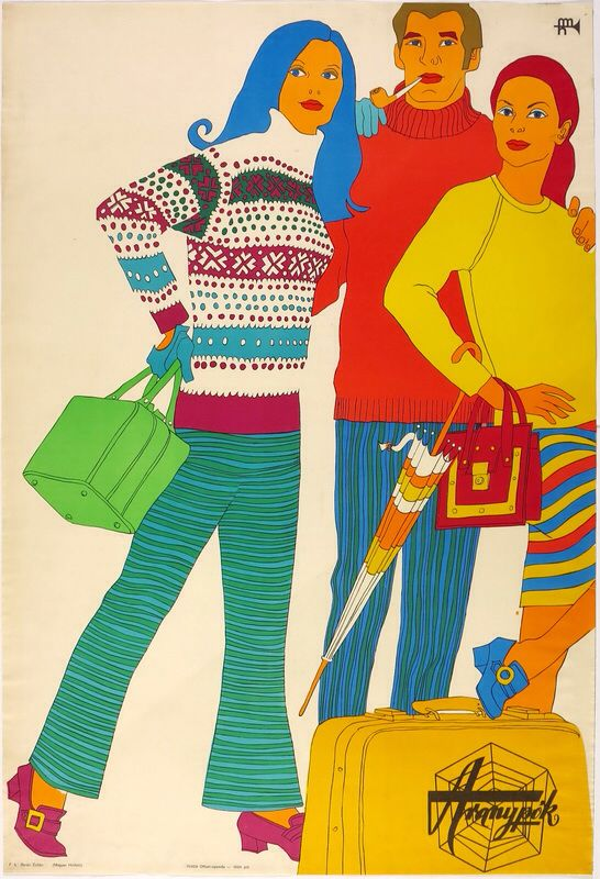 1970, communist fashion from Aranypók retail chain. Colorful composition in a cartoonish style.