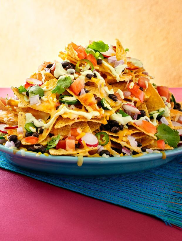 Mile-High Nachos Supreme with Avocado Cream - Rachael Ray Every Day