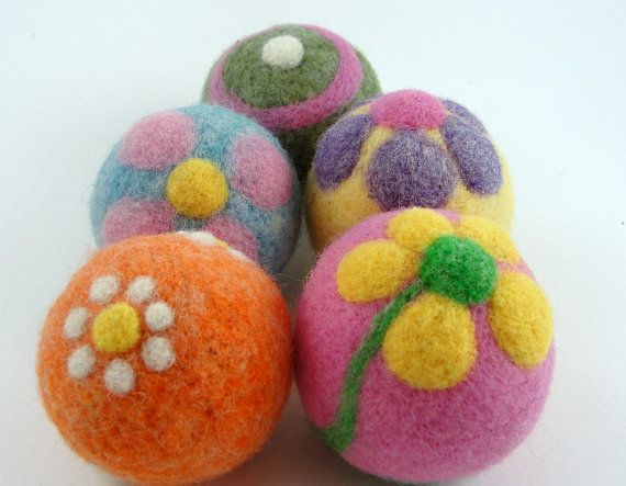 Needle Felted Wool Dryer Balls  Set of 5 in by GenerationJane, $30.00