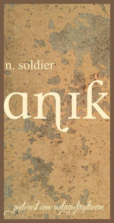 Baby Boy Name: Anik (AW-nik). Meaning: Soldier. Origin: Hindu; Indian. https://www.pinterest.com/vintagedaydream/baby-names-by-me-vintagedaydream/?eq=baby&etslf=4106