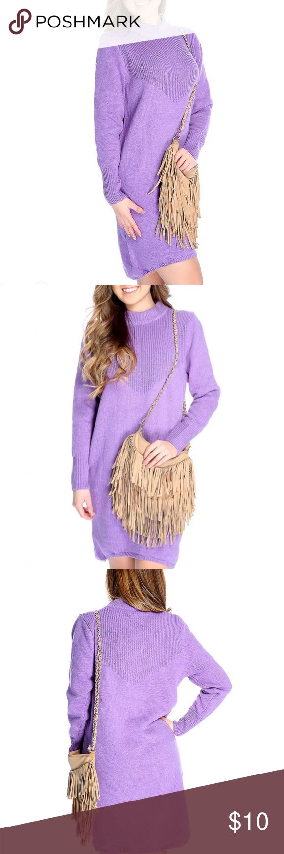 AMI Clubwear Long Sleeve Casual Sweater Dress Lavender colored, oversized sweater dress. High collar - almost mock neck, longer back than front. Fits very large. I typically wear a small and this could have easily fit a large or XL. Never worn. AMI Clubwear Dresses