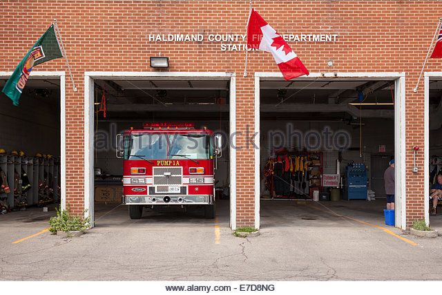 'Haldimand County Fire Department Station' in downtown Caledonia, Ontario, Canada. - Stock Image