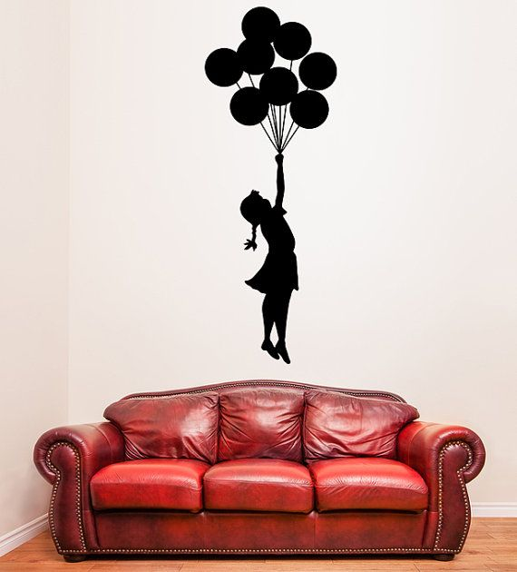 Banksy Vinyl Wall Decal Escapism Stunning Girl with Balloons /