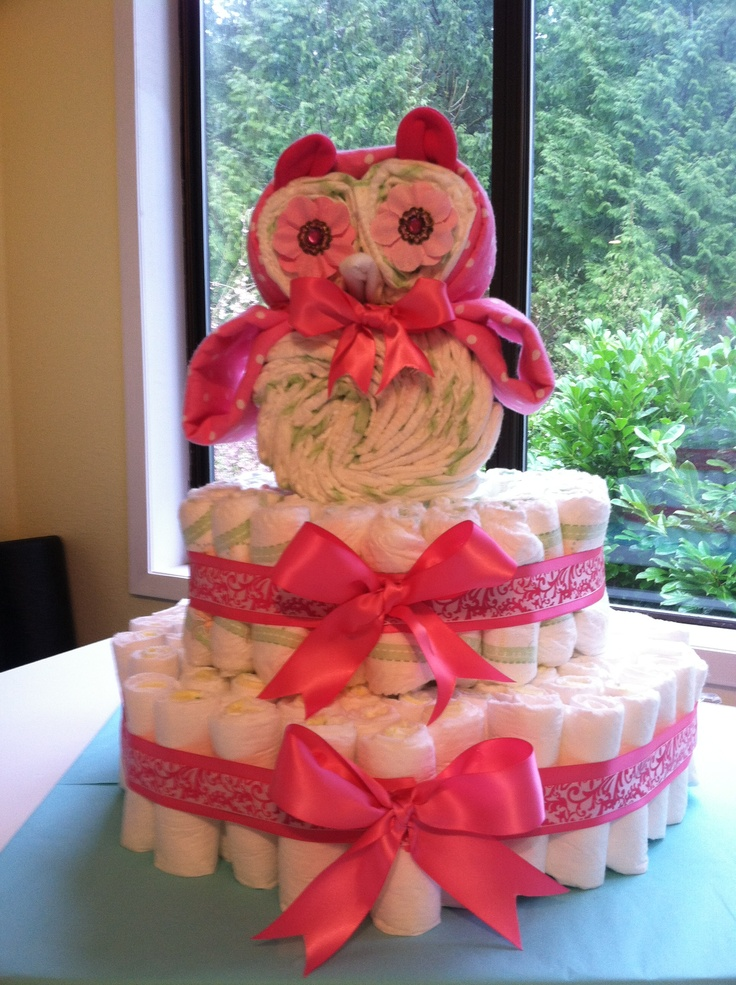 Owl diaper cake for my soon to be little Neice