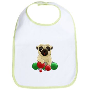 A Pug Christmas Bib from cafepress store: AG Painted Brush T-Shirts. #pug #baby #bib #Christmas