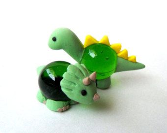 Adorable Polymer Clay Glass Figure - Dinosaurs ||| brontosaurus-esque, triceratops, marble, sculpture, toy, miniature,