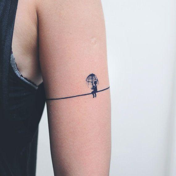 Minimale Rainy Day man jongen tijdelijke Tattoo door LAZYDUOTattoo